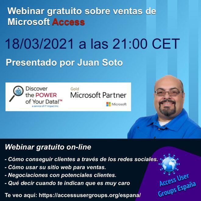 Juan Soto, Access MVP, nos dará una charla sobre ventas de Microsoft Access