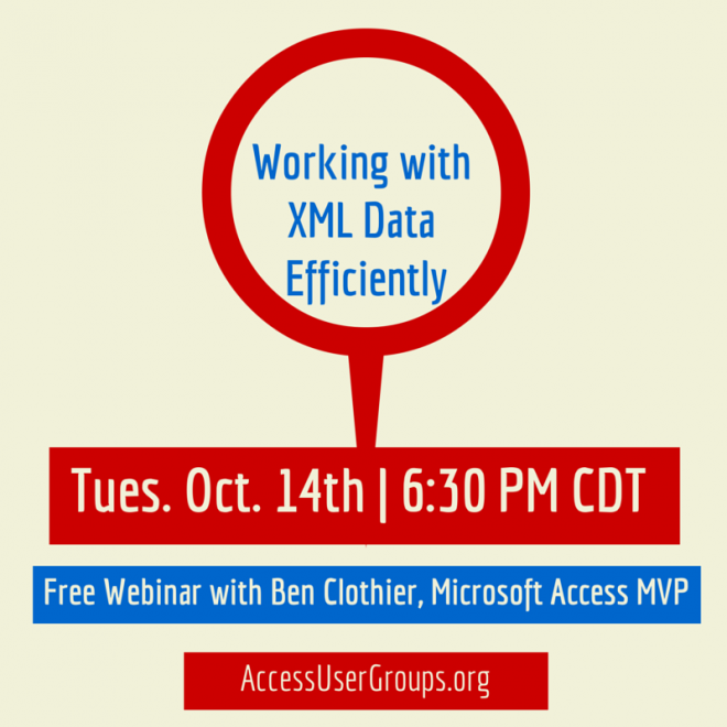 Tuesday, October 14th @ 6.30pm CDT – Working with XML Data Efficiently